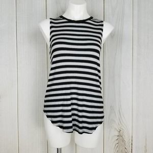 Michael Stars Black Gray Striped Tunic Tank Top